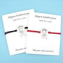 Diabetic Type 1 Medical Alert Card Bracelets Fighter Breast Cancer Awareness Ribbon Silver Charm Jewelry Women Men Unisex Gift