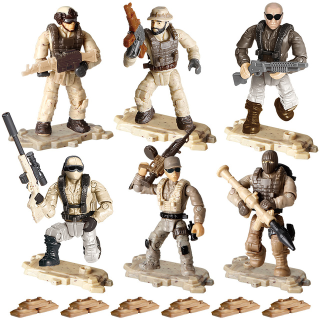 6Pcs/set PUBG Army Soldiers World War II Building Blocks WW2 Military Series with Weapons Guns Bricks Toys For Kids