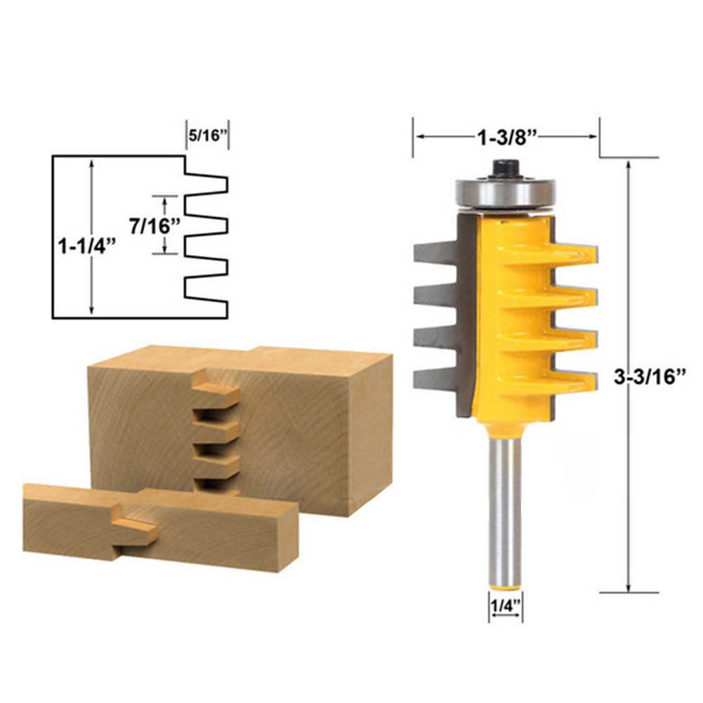 1PC Hard Alloy 1/4 Inch Shank Rail Reversible Finger Joint Glue Router Bit Tenon Woodwork cutter accessories Power TOOL NEW