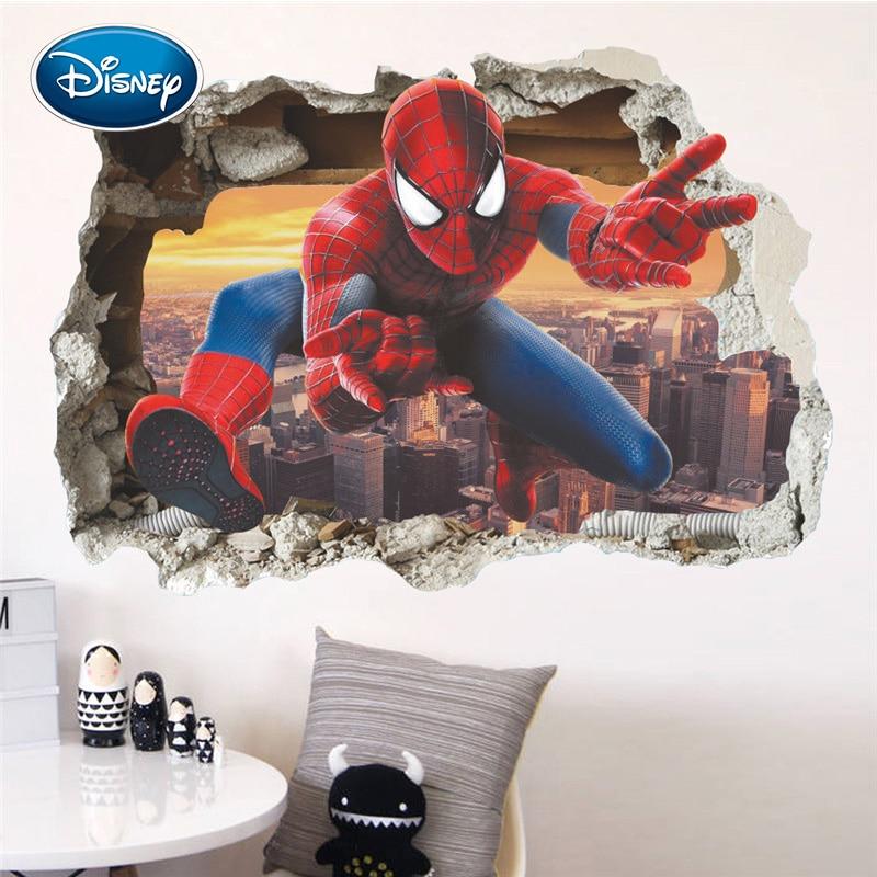 Disney New Broken Wall Spiderman Stickers Children's Room Background Wall Decoration Stickers Living Room Decoration Stickers