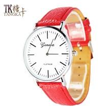 New Geneva Roman numerals hour hand show woman quartz watch high quality leather strap leisure fashion student watch