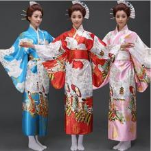 купить Women Bathrobe Robe Female Long Japanese Traditional Kimono Women Yukata Costume Cosplay Haori Kimono with Obi Dress Pink 5 дешево