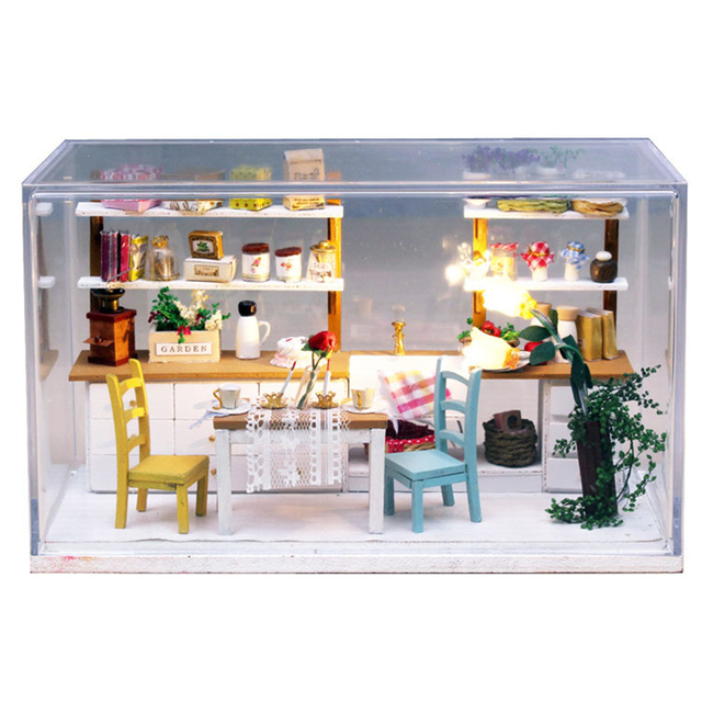 Dream Kitchen Wooden Doll House Miniature DIY Assemble Dollhouse Furniture  Miniature Doll Houses With LED Lights