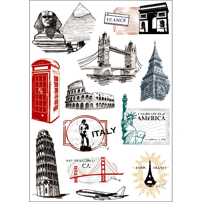 12x Sticker Famous Scenery Post Mark A4 Size Phone iPad Tablet Laptop Luggage Skateboard Bicycle Motorcycle Car Styling Decal