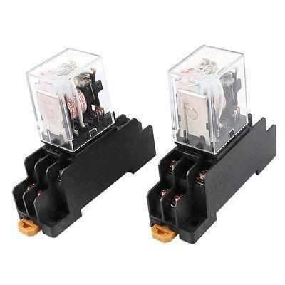 Подробнее о 2 Pcs AC 220V Coil DPDT 8 Pin Red LED General Purpose Power Relay w Socket Base free shipping ac 220 240v coil 3pdt 11 pin red led lamp general purpose power relay