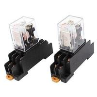 2 Pcs AC 220V Coil DPDT 8 Pin Red LED General Purpose Power Relay W Socket
