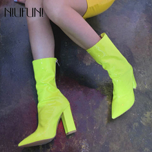 Fashion Pointed Toe Solid Color Womens Boots NIUFUNI 2019 Summer New Arrival Rain Ladies Thick High Heels Casual Shoes