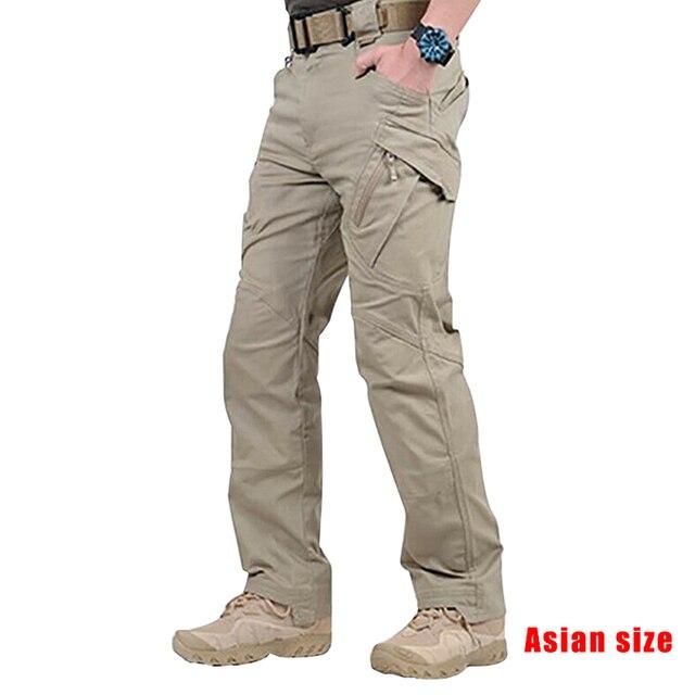 2019 Newly Men Waterproof Work Cargo Long Pants with Pockets Loose Trousers NDJ