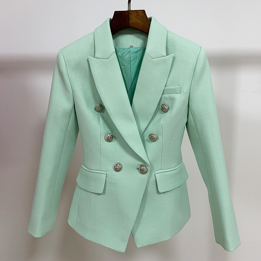 HIGH STREET Classic Baroque Designer Blazer Women's Silver Metal Lion Buttons Double Breasted Blazer Light Green