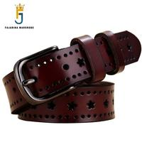 FAJARINA Ladies Good Quality Cowskin Leather White Retro Clasp Styles Cowhide Belt Fashion Belts for Women Print Belts N17FJ043