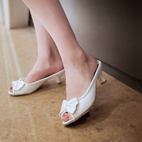 2015 Lady Sexy Peep Toe Bow 2 55 Thin High Heeled Shoes Women S Slippers Plus