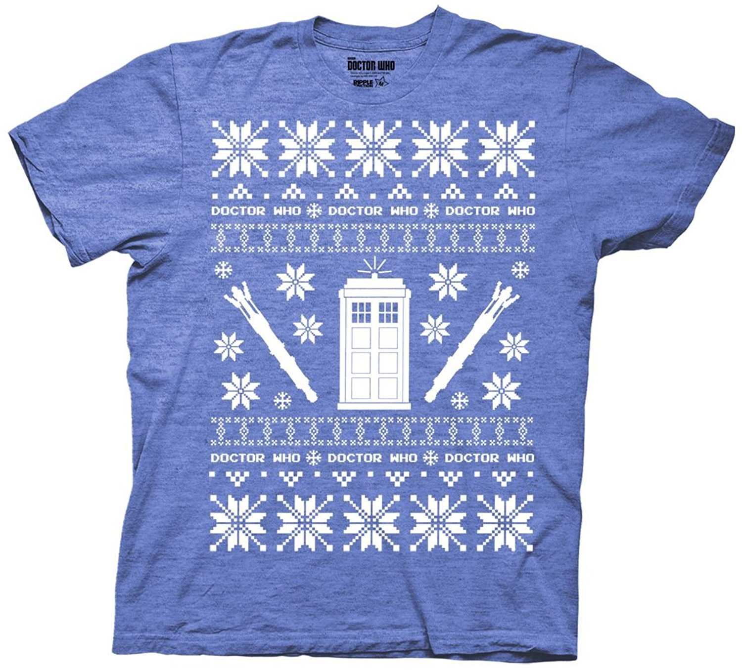 Gildan Doctor Who Christmas Tardis Ugly Sweater T-shirt