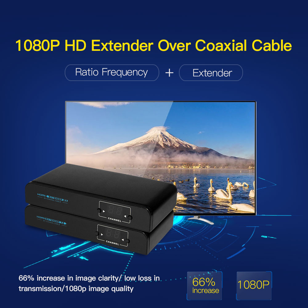 LKV379 1080P HD Extender Over Coaxial Cable HD Signal to HD Digital TV Signal Based on DVB-T CATV Up To 500m 80 channels hdmi to dvb t modulator hdmi extender over coaxial