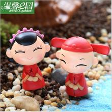 2018 Fashion 4cmX3cm Traditional Chinese bride groom Small Decorative Article Diy Microlandschaft Home Decoration Accessories