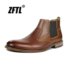 ZFTL New Men Chelsea boots Handmade Genuine Leather Man Ankle Boots winter warm Big Size mens Martins fashion Booties 012