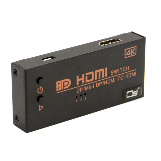 4K Dual HDMI & Mini DP Displayport in to HDMI out Switch Switcher Selector 3 in 1 HDTV for Macbook