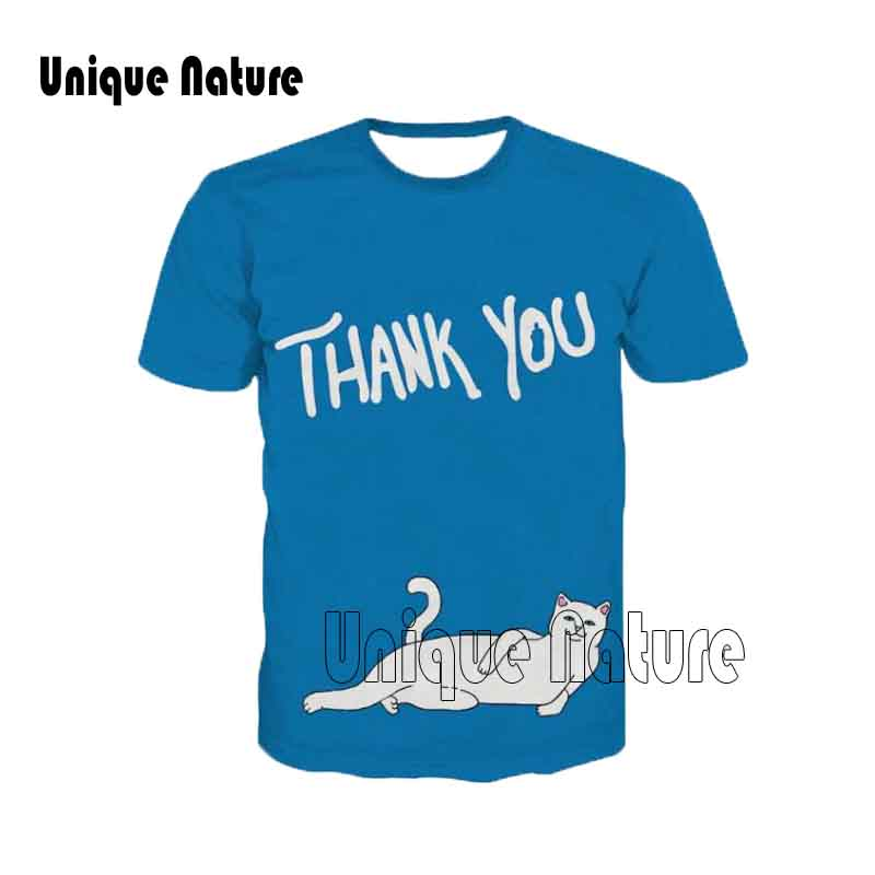 Unique Nature 2018 New Circular collar Casual Shirts Cool Print Blue Short Sleeves White Cat 3D Fashion Top Tees Plus Size 5XL