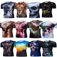 2018 Men's Cycling Jersey Short Sleeve Summer Bike Tee Shirt Bicycle Clothing Quick Dry Breathable 3D Tiger Wolf Skull