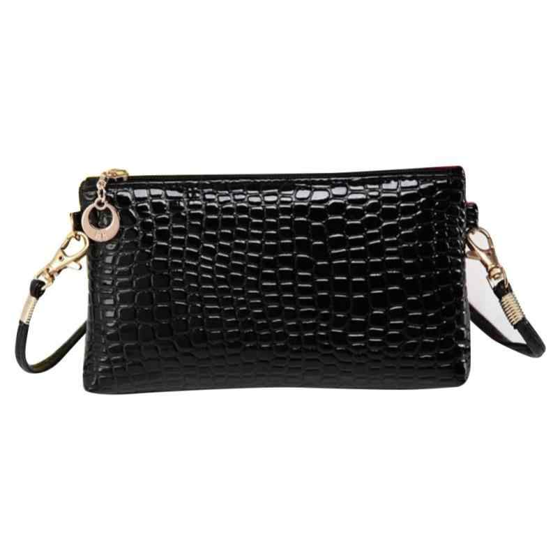 58893c455382 Brand New Women Crocodile Leather Messenger Bags Ladies Pure Colour Bags  Zipper Coin Phone Clutch Shoulder Handbag TC