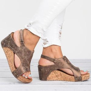Image 2 - Women Sandals 2020 Platform Sandals Wedges Shoes For Women Heels Sandalias Mujer Summer Shoes Leather Wedge Heels Sandals 43