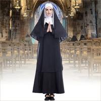 Takerlama Black Women Nun Virgin Mary Costume Long Dress Christian Clergyman Priest Costumes For Women Adult
