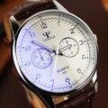 Mens Relógios 2016 Top de Luxo Da Marca Fashion Business Casual Relógio de Quartzo de Couro À Prova D' Água Masculino Relógio Montre Homme Reloj Hombre