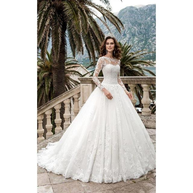 2017 New Long Sleeves Lace A line Wedding Dresses Queen Vestios De ...