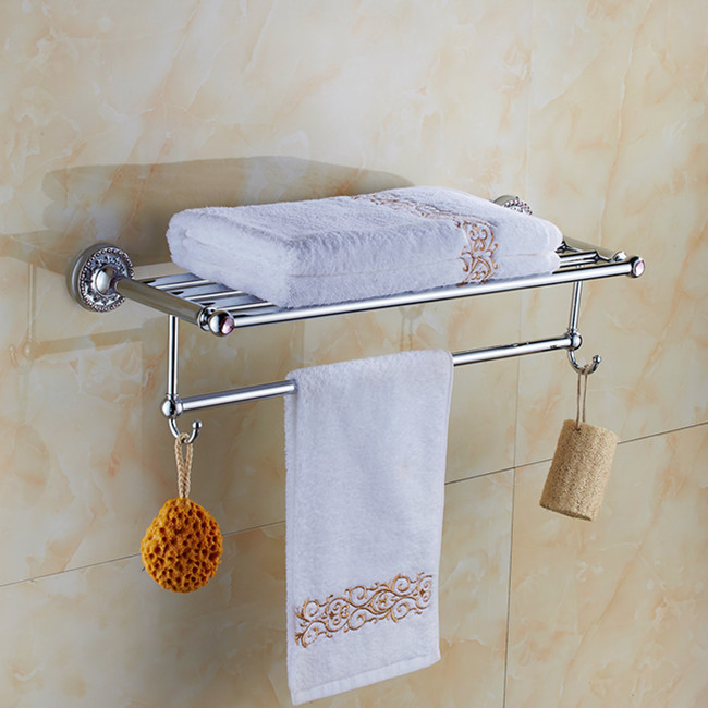 Chrome bath towel rack bathroom towel holder bathroom - Bathroom towel holders accessories ...