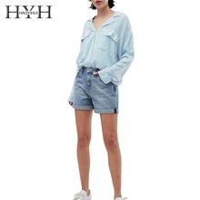 HYH Haoyihui Femme Summer Stylish Casual Tops Girls Sexy Notched Collar Blue Striped Comfortable Easy Match Show Thin Shirt