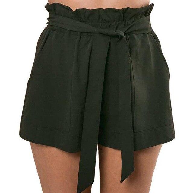 Moda mujer Sexy OL Imperio de cintura alta con cordones volantes de algodón sólido pantalones cortos crepé verano Pantalones casuales para la playa 5