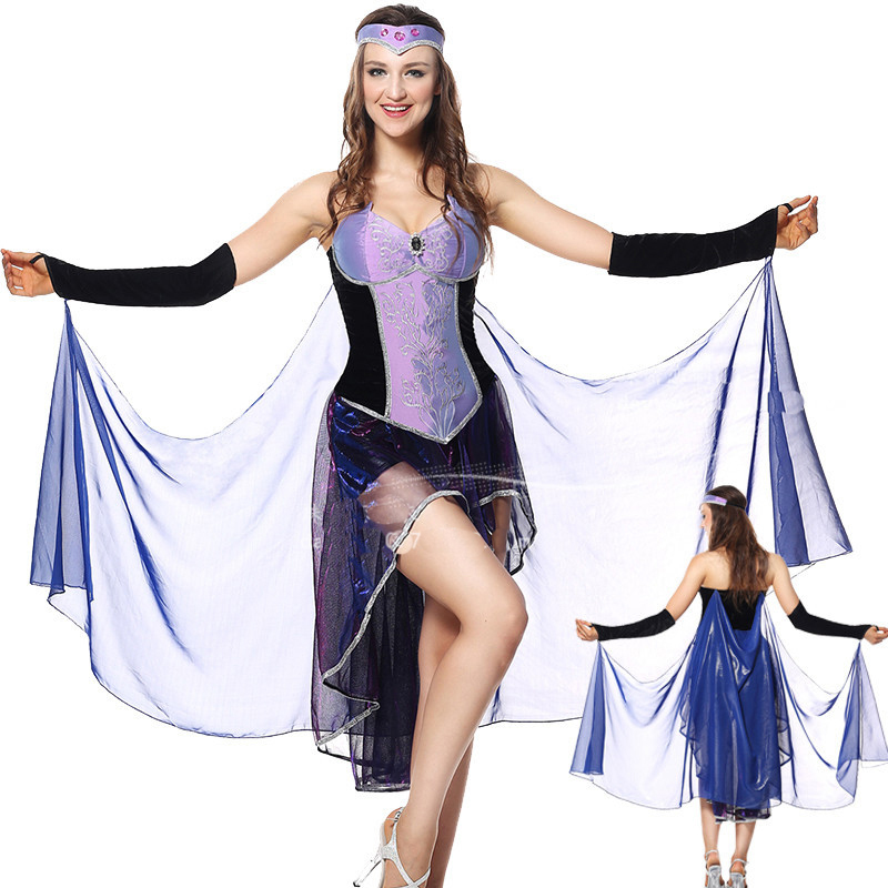 High quality pair of Halloween game uniforms new Greek goddess Cleopatra cosplay Arab Cleopatra post-playing costume purple dres