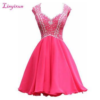 Linyixun Real Photo Sexy Homecoming Dresses 2017 Crystals Beading Cap Sleeves Tulle Short Prom Dresses Luxury Cocktail Dresses