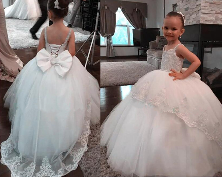 2017 New Princess White Puffy Flower Girl Dress Ball Gown Spaghetti Straps Girls First Communion Dress Tulle Lace Kids Wear silver gray purple pink blue ball gown tutu soft tulle puffy flower girl dress baby 1 year birthday dress with spaghetti straps