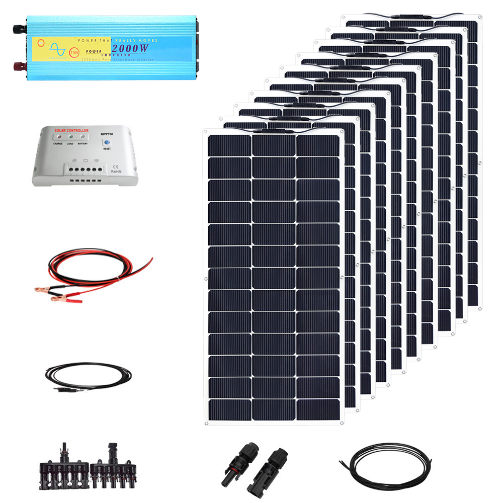 Direct Selling 1000w 12v Solar Diy Kit System 100w Flexible Solar Panel 2000w Inverter 50a Mppt Controller Mc4 Connector Cable 4pcs 100w flexible solar panel with mppt 30a controller and mc4 y connectors for 12v battery solar charger houseuse solar kit