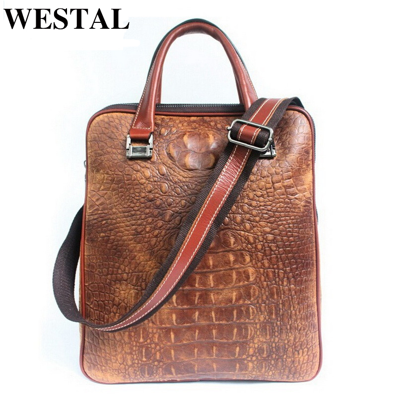 WESTAL Genuine Leather Men's Briefcase Business Shoulder Bags High Quality Famous Brand Handbags Tote Bag for Man Laptop Bag