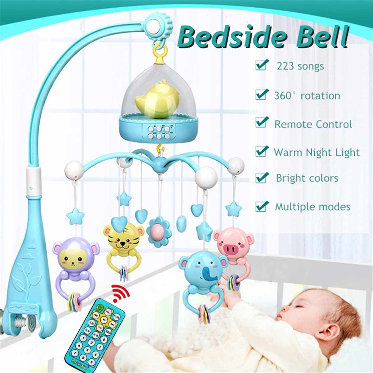 Baby Toys 0 12 Months Crib Mobile Musical Bed Bell Animal Rattles Projection Cartoon Early Learning Kids Toy With Remote Control