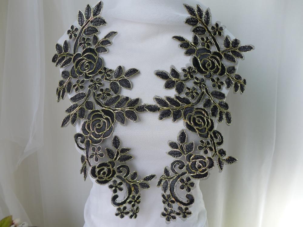 Black gold alencon lace applique golden cord floral wide lace