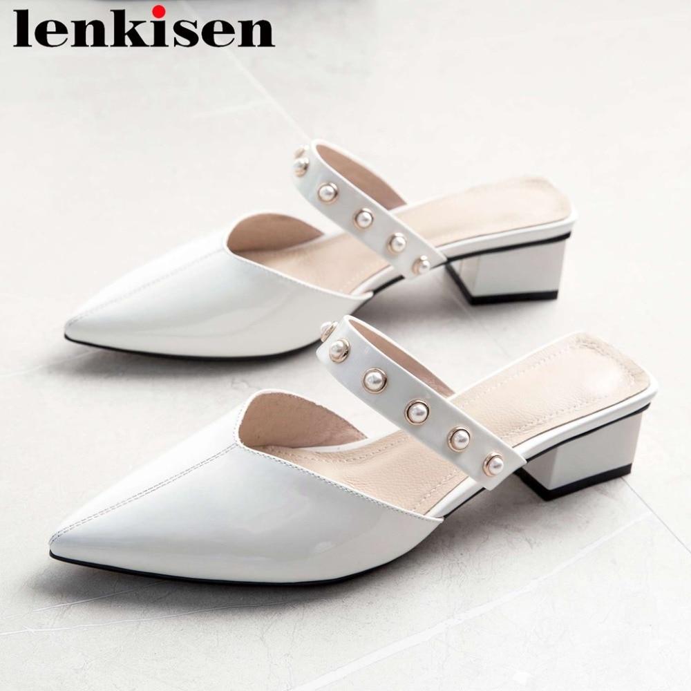 Lenkisen 2019 genuine leather pointed toe mules pearls decoration chunky med heels slip on elegant lady oxford leisure pumps L07