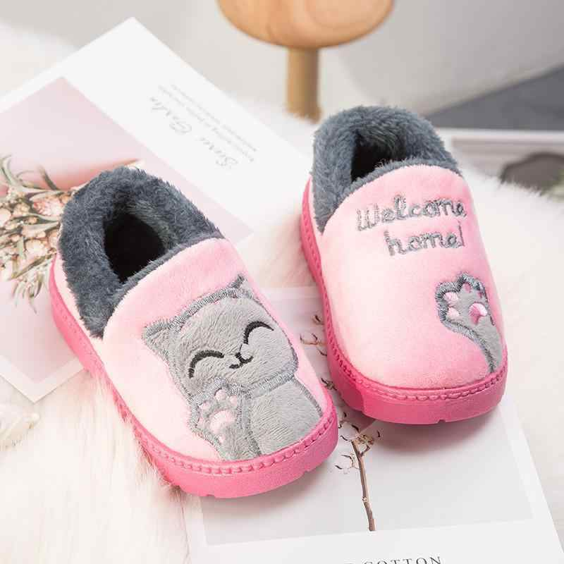 Winter home slippers child animal cartoon badslippers kinderen room skid  keep warm slippers for kids 2019 multi-color selection