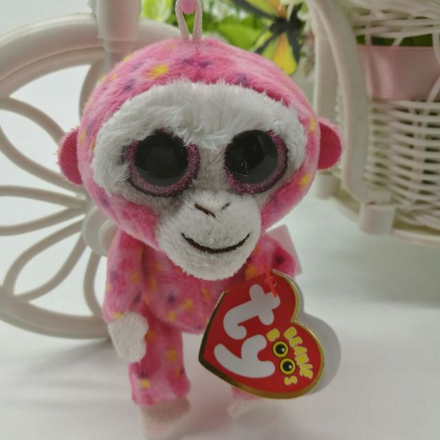 Ty Beanie Boos collection ruby red monkey Plush Toy Clip Small Pendant Kids  Birthday Gift Key c351da3d39c9