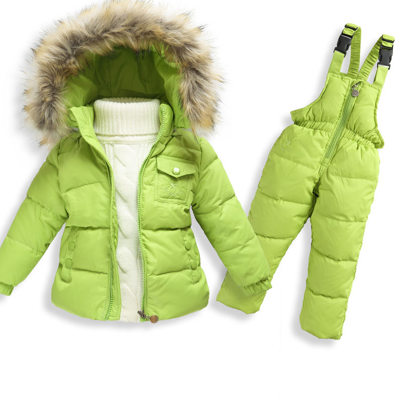 Children Boys Girls Winter Warm Down Jacket Clothing Set Kids Thicken Fur Collar Hooded Coat+Jumpsuit Overalls Ski Suit TZ102 2016 winter boys ski suit set children s snowsuit for baby girl snow overalls ntural fur down jackets trousers clothing sets
