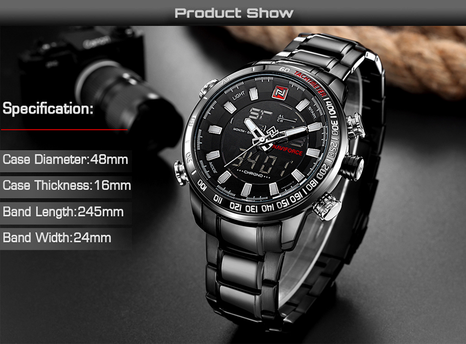 Naviforce NF9093 Military Quartz Watch Black White