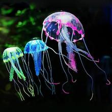 New Glowing Effect Artificial Silicone Vivid Jellyfish Fish Tank Aquarium Decoration Mini Submarine Underwater Ornaments