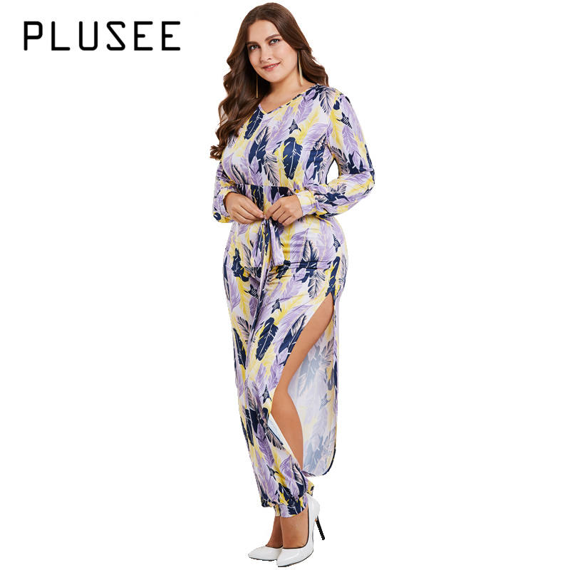 Plusee Women Plus Size Fashion Long   Jumpsuits   Slit Pants Long sleeve   Jumpsuit   V-Neck Floral bodysuit XL-5XL