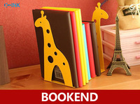 Cartoon Animal Heavy Duty Metal Book Ends , Giraffe / Elephant Pair Of Shelf Bookends , book stand for home and office