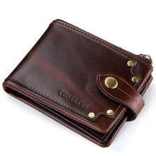 New luxury Genuine Leather Men Wallets Coin Pocket Zipper Real Men's Leather Wallet with Coin High Quality Male Purse