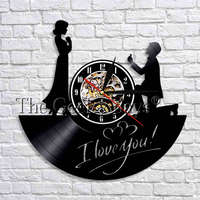 1Piece I Love You Sign Vinyl Record Watch Wall Clock Valentines Gift For Her Modern Design Wall Art Decorative Clock For Room