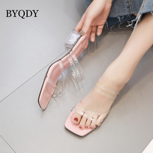 BYQDY Clear Transparent Slippers Women Shoes Woman Mules Slides New Summer Peep Toe Square High Heels Female