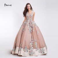 Finove Flowers Appliques Prom Dresses Sexy V Neck 2017 New Styles Lace Up Back Elegant Floor