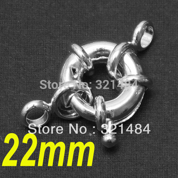 Jewelry DIY Findings 100pcs 22mm Dull Silver Plated Spring Clasp/Ring Clasp
